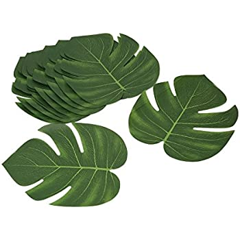 InnoBase Artificielle Feuilles de Palmiers Hawaiian D/écoration Tropicales Simulation Palm Leaves D/écoration de Table pour Hawaiian Luau Jungle Beach Th/ème Party 35x29cm 20 pcs