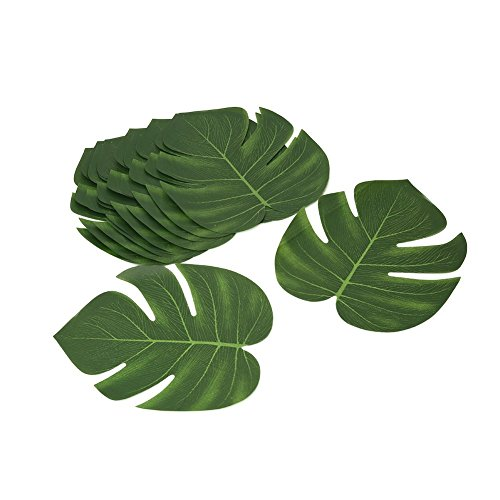 Shintop 12 Stück Tropische Blätter Künstlich, Tropischen Party Dekorationen für Hawaiian Luau Jungle Beach Theme ()