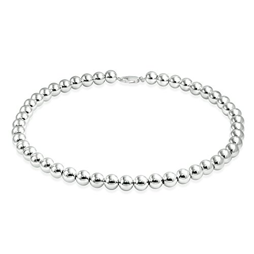 Bling Jewelry Classic 10 mm Sterling Silber runde Kugel Perle Halskette 18 ()