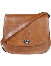 Jl Collections Women's Leather Tan Sling Bag