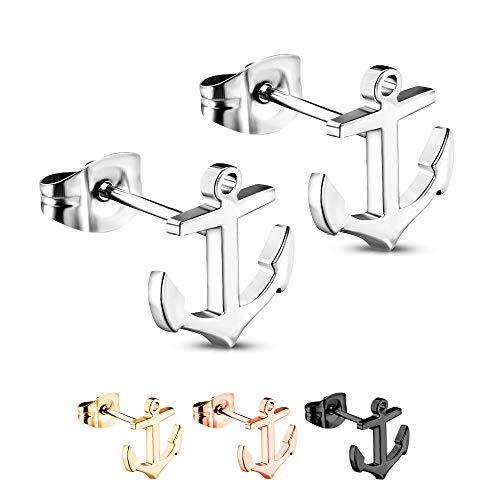 Treuheld® | Silberne Ohrstecker mit ANKERN - 925 Sterling Silber - Damen & Herren Ohrringe - glänzende Ohrstecker - Ohrschmuck zum Stecken - Ohrschmuck auch für Kinder - 10 x 11 mm Silber