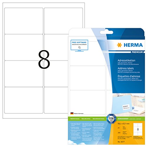 Herma 5077 Adressetiketten (99,1 x 67,7 mm) weiß, 200 Etiketten, 25 Blatt Premium DIN A4 Papier matt, bedruckbar, selbstklebend