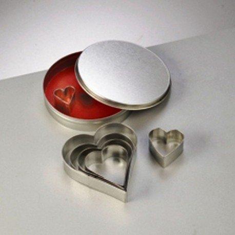 Emporte-pièces en inox, Assortiment de 7 Coeurs, taille de 2,5 à 10 cm