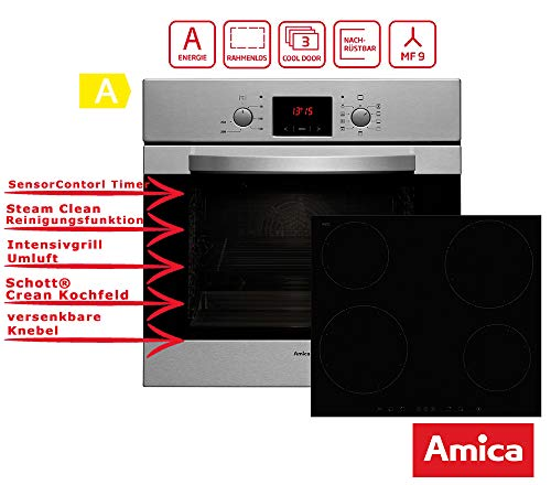 Amica Einbauherdset EBI 50555E Induktionskochfeld, Edelstahl, Scandium Design, SensorControl Timer, MF9, Umluft, Energieeffizienzklasse A
