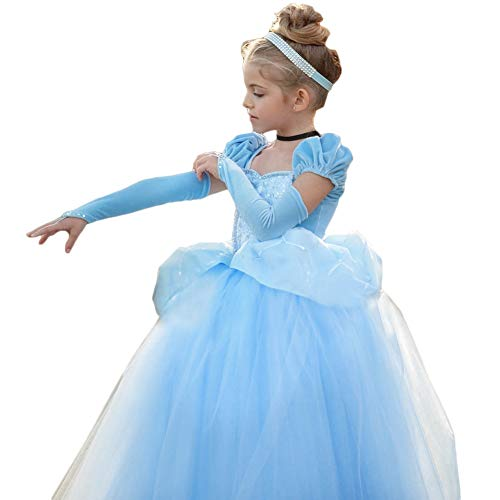 CQDY Cinderella Kostüm Kleid Für Kinder Mädchen Princess Kostüm Halloween Fancy Party Dress up Outfit Cosplay - Deluxe Prinzessin Cinderella Kostüm