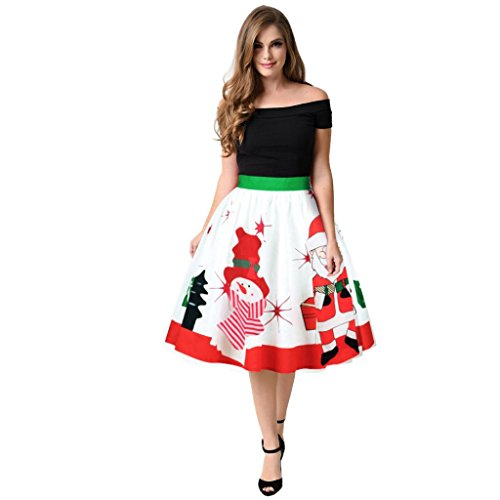 taottao Weihnachten Lady Rock Winter Schneemann Xmas Tree Santa Claus Sweet Ombre Rock (Rock Ombre Set)