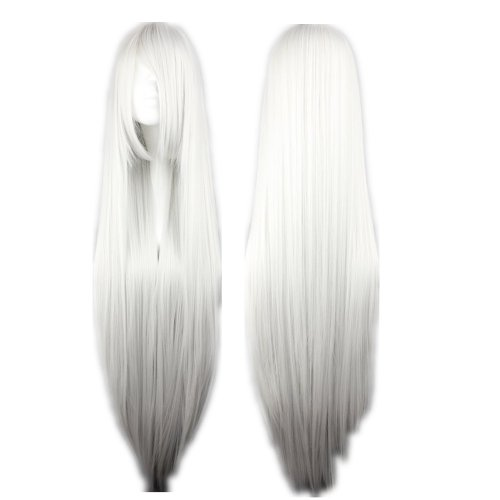 COSPLAZA Cosplay Wigs Kostueme Peruecke HITMAN REBORN Superbia? Squalo lang gerade Silber Weiss 80cm Party (Kostüm Hitman)