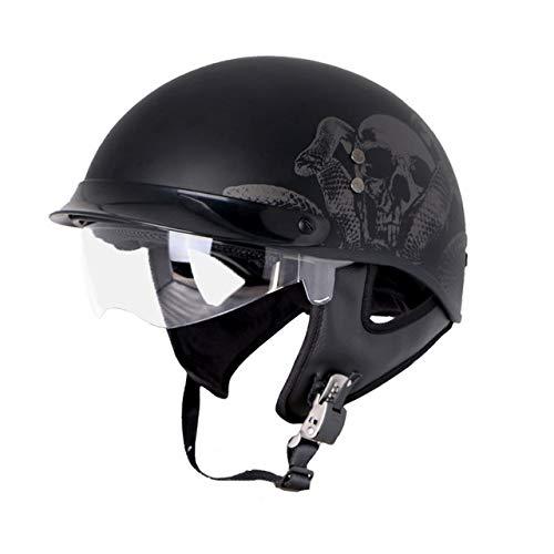 Motorradhelm Retro Fiberglas Half Face Motorrad Casco Casque Innenvisier Chopper Helme, Schwarzer Schädel Mit Transparenter Brille-1, XL