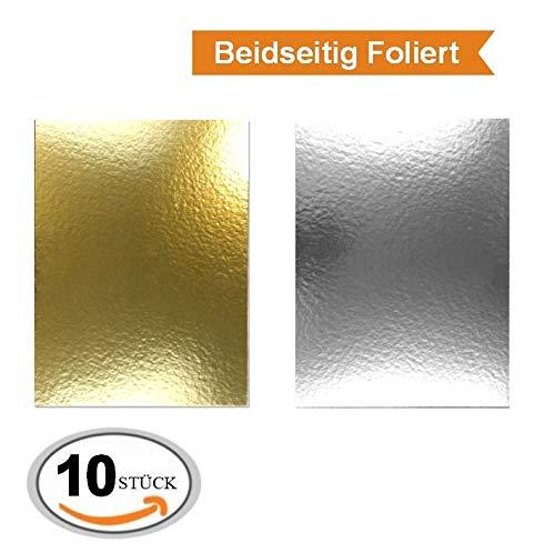 Miss Bakery's House® Cake Board - 3 mm - 30x40 cm - Silber&Gold - 10 Stück - Beidseitig beschichtet, extra stark