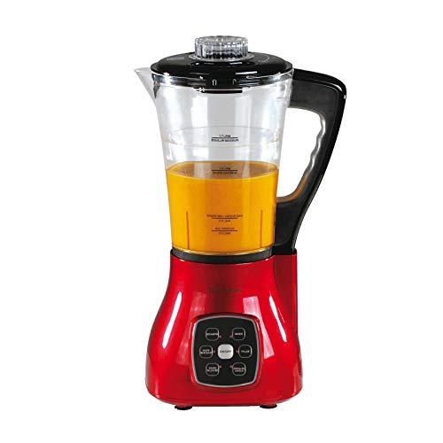 2in1 Multi-Standmixer mit Heizfunktion und Eierkocher (Smoothie-Maker, digital, Glaskrug 1,7 Liter, Blender, Mixer, 800 Watt, Koch-Mixgerät, 6 Programme, rot)