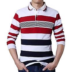 Sylar Camisetas Para Hombres Moda Estampado De Rayas Solapa Botón Manga Larga Casual Slim Fit Camiseta Sudadera Polo Tops Tallas Grandes