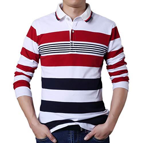 Xmiral Herren Tops Bluse Lässige Mode Knopfleiste Rot Weiß Streifen T-Shirt Langarm Revers T-Shirt(L,Weiß)