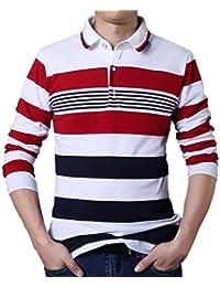 4931951ffc973 Camiseta de Manga Larga a Rayas para Hombre Manga Larga Suéter para Hombre  con Cuello Camisa