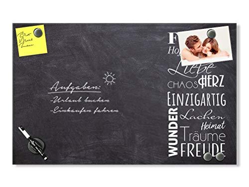 GRAZDesign Magnettafel Küche Familie - Notiztafel Küche für Notizen und Wichtiges - Magnettafel groß zum Beschriften - Magnettafel Glas grau / 80x50cm / 502051_80x50_GL_MW