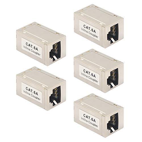 VCE CAT7 CAT6A Ethernet RJ45 Kupplung LAN Kabel Verbinder POE Patchkabel Kupplung Netzwerkkoppler für Verlängerung Ethernet Kabel Modular geschirmte 5 Stück -