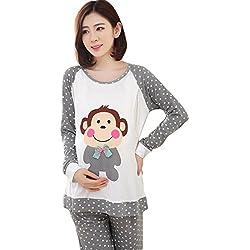 Mummamia Maternity + Feeding Full Sleeve Lounge suit-Monkey