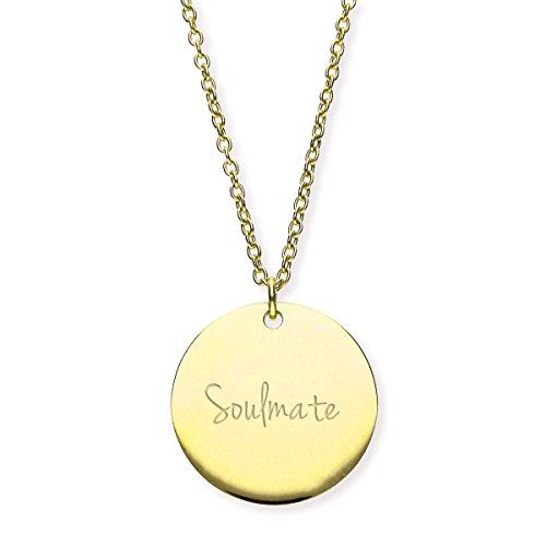 URBANHELDEN - Damen-Kette Soulmate mit rundem Anhänger - Hals Kette Amulett - Edelstahl - Soulmate Gold