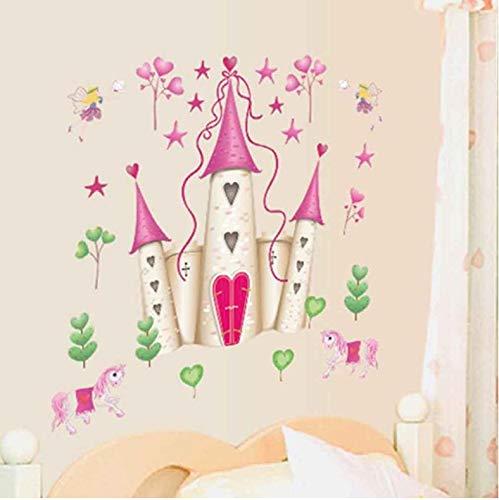 qunxun Niedlichen Cartoon Prinzessin Schloss Muster Abnehmbare Poster Wandaufkleber Für Baby Kinder Wohnzimmer Dekoration Wandaufkleber -