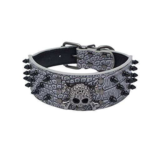er Halsbänder,Verstellbarer Hundehalsband,Sparkly Skull Head Rivet Collar,für Hunde Katzen Kleine Haustiere,für Mädchen Jungen (Grau, L) ()