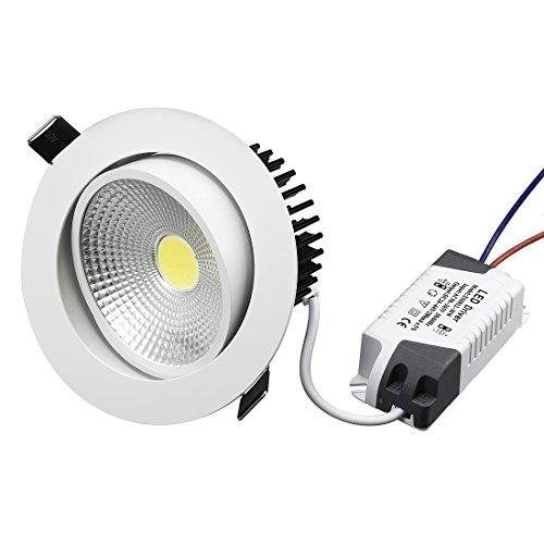sourcing map 10W LED Downlight encastré Plafonnier LED IC Coté 6000-6500K(blanc pur)