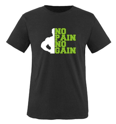 Comedy Shirts - NO PAIN NO GAIN - Uomo T-Shirt maglietta - nero / bianco-verde taglia L