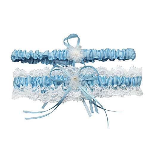 Brautkleid Dessous (CHIC DIARY Elegant Strumpfband Damen Hochzeitsstrumpfband mit Schleife Beinband Hochzeitskleid Brautkleid Accessoires)