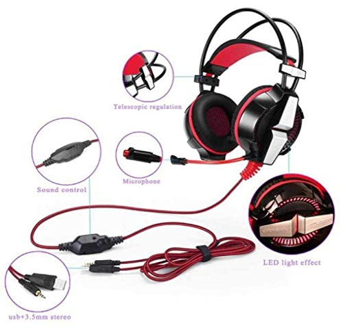 MJY Fashion Gaming Headset Usb 7.1 Surround Sound über das Ohr Gaming Kopfhörer Ohrhörer Stereo Noise Isolation,rot,EIN Fashion-stereo-headset