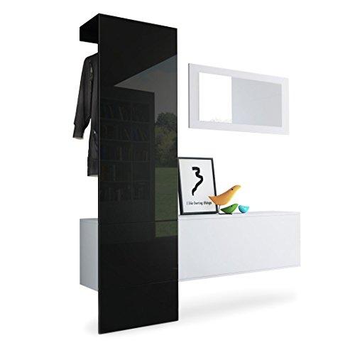 Garderobe Wandgarderobe Carlton Set 4, Korpus in Weiß matt  Paneel in Schwarz Hochglanz