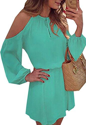 Donne Estate Vestito Partito Vestito Senza Spalline Casual Vestito a Mini Dress Vestitini Abito in Chiffon Sciolto Abiti a Manica Lunga Verde