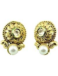 Harvi Creations perla de las mujeres tapas los oídos fijados polki diseñador joyería india bodas de oro veneno de joyería