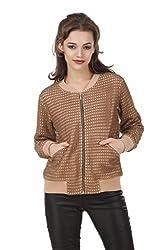 TEXCO Beige Lace Bomber Women Jacket