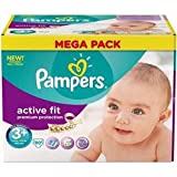 Pampers Active Fit - P04275935 - Couches format Mega Midi + T3 + 5/10kg - 80 couches
