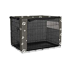 """QEES Dog Crate Covers, Windproof Pet Kennel Cover for Wire Crates, Dust Proof Pet Cage Cover, Lense Hood for Pet (37"""" Lx24 Wx25 H, 1#)"""