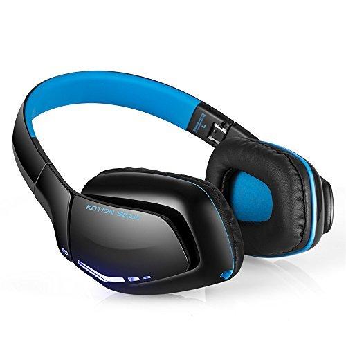 KOTION CADA b3506 V4.1 Bluetooth auriculares Gaming auriculares con micrófono plegable, 8 horas de tiempo de reproducción para iPhone Android ordenador y más (azul) … (3506Blue)