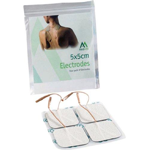 Almohadillas de electrodos autoadhesivos Med-Fit TENS / EMS. 4 Electrodos, 1 Pack de electrodos hipoalergénicos de larguísima duración de la más alta calidad. 5cm x 5cm, compatibles con prácticamente todos los modelos de estimuladores TENS y EMS.