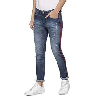 Campus Sutra Men's Denim Red Stripe Stitching Denim Jeans (Blue_ 28)