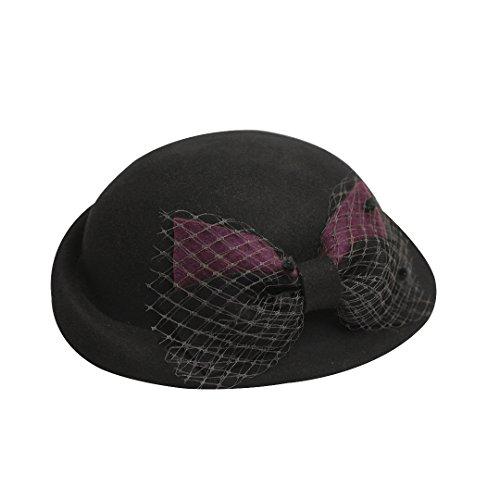 Vaevanhome Herbst Und Winter Net Garn Beret Hut Elegante Damen Hut Hit Farbe Bogen Knospe Kappe, Verstellbar, Schwarz (Garn Beret)