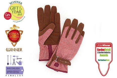 Burgon & BallLove the Glove,Damen Garten-Handschuhe in verschiedenen Größen,roter Tweed