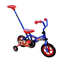 "Spike Space Ranger 10"" Wheel Kids Childs Trike Balance Bike Steering Boys Stabilisers Training Bike Blue & Red Parent Handle"