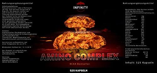 Amino Complex, 525 Kapseln, 3520mg Hochdosiert, stärkste Aminosäuren/Bcaa Mischung, Muskelaufbau L-Arginin, L-Glutamin, L-Tyrosin uvm.
