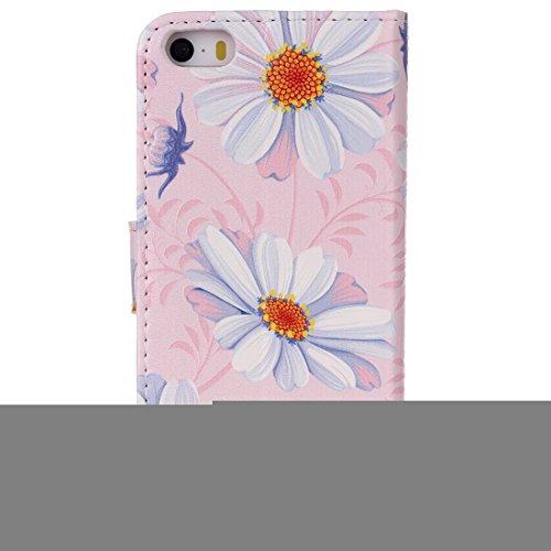 Ooboom® iPhone 5SE Hülle Flip PU Leder Schutzhülle Handy Tasche Case Cover Wallet Stand mit Kartenfächer Magnetverschluss für Apple iPhone 5SE - Rose Blume Rosa