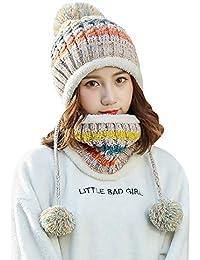 LILICAT® Forro Polar Mujer Tejida Beanie Bufanda Conjunto Invierno Invierno Sombrero con Orejeras Pompom (Beige, Negro, Gris, Azul Marino, Rosa, Rojo)