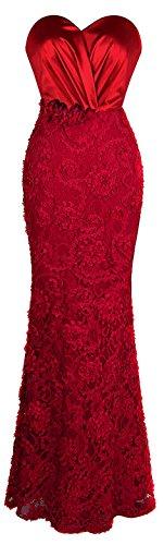 Angel-fashions Damen Traegerlos Schatz Rose Applikationen Falten Schaerpe Hochzeitskleid (S, rot) - Kleider De Noche
