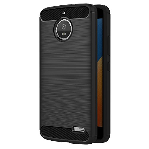 Moto E4 Hülle, AICEK Schwarz Silikon Handyhülle für Motorola Moto E4 Schutzhülle Karbon Optik Soft Case (5,0 Zoll)