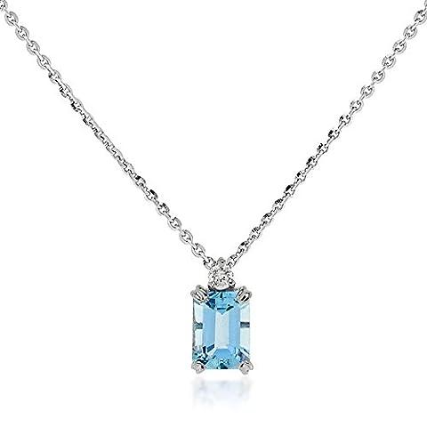 Gioiello Italiano - White gold necklace with diamond and aquamarine
