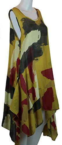 Bild von BZNA Leinen Tunika Kleid Gelb Kleid Leinentunika Shirtkleid 36 38 40 42 one size Damen Dress Oberteil elegant