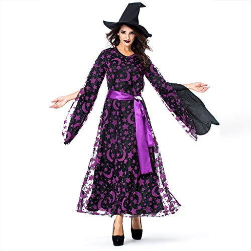 SomeTeam Mode Frauen Halloween Cosplay Party Star Magische Hexe Hexe Vintage Kleid Dame Halloween Cosplay Ghost Star Moon Magische Hexe Kleid -