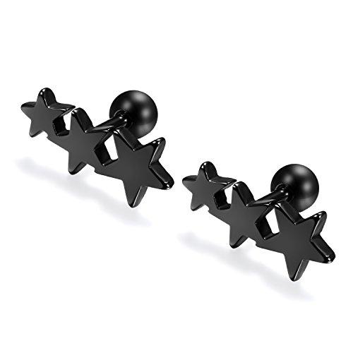 Flongo Pendientes de estrellas pequeños, Negros pendientes trepadores de acero inoxidable de colores para verano, Aretes zarcillos chic 1 par