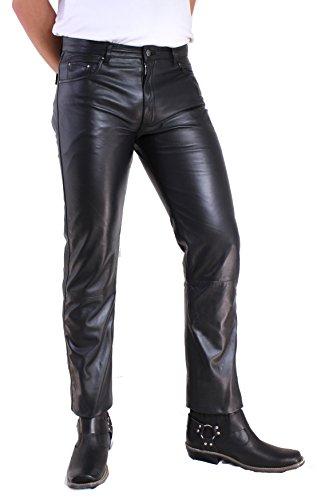 RICANO Lamm Nappa Jeans Herren Lederhose / 5-Pocket Stil (Jeans Optik), Lamm Nappa Echtleder in schwarz