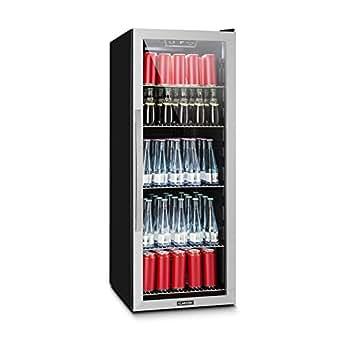 Klarstein Beersafe 5XL • Minibar • Mini-Kühlschrank • Getränkekühlschrank • 201 Liter Volumen • niedriges Betriebsgeräusch • 5 Einlegeböden • Panorama-Glasfenster • LED-Beleuchtung • schwarz-silber